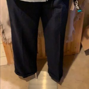 Ralph Lauren navy linen wide leg trousers